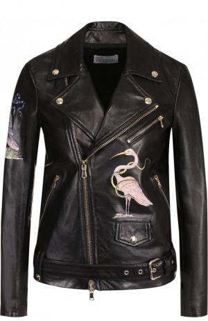 Кожаная куртка с поясом и декоративной вышивкой REDVALENTINO. Цвет: черный