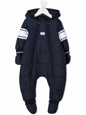 Padded logo-patch snowsuit BOSS Kidswear. Цвет: синий