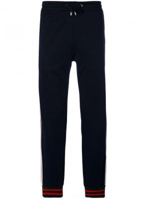 Спортивные брюки с отделкой GG Web Gucci. Цвет: синий