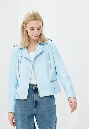 Куртка кожаная Lime. Цвет: голубой