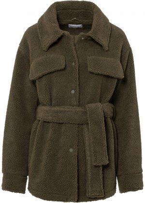 Куртка из плюшевого материала bonprix. Цвет: зеленый