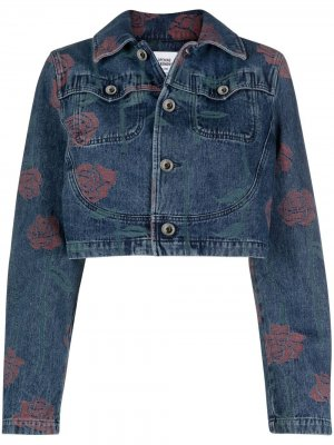 Укороченная джинсовая куртка с принтом Opening Ceremony. Цвет: синий