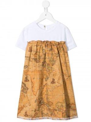 Платье ампирного силуэта с цветочным принтом Alviero Martini Kids. Цвет: коричневый