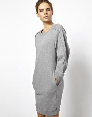 Платье-свитшот Chalayan Grey Line. Цвет: серый меланж