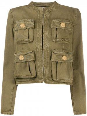 Джинсовая куртка без воротника Balmain. Цвет: зеленый