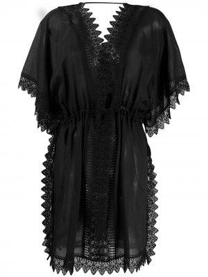 Платье-трапеция с вышивкой Charo Ruiz Ibiza. Цвет: черный