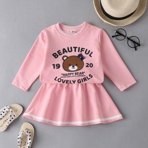 Для девочек с узором медведя и текстовым принтом Свитшот & Юбка SHEIN. Цвет: розовые