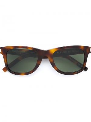 Солнцезащитные очки в квадратной оправе Saint Laurent Eyewear. Цвет: коричневый