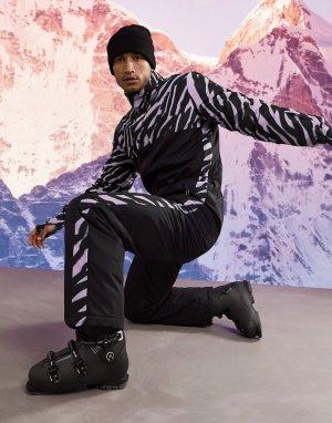 Горнолыжный костюм с вставкой зебровым принтом -Черный цвет ASOS 4505