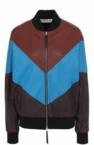 Кожаная куртка-бомбер на молнии Marni. Цвет: коричневый