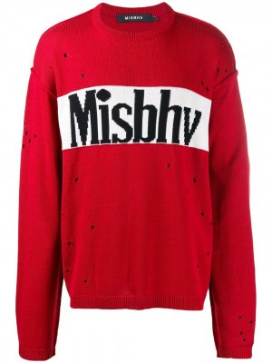 Свитер с эффектом потертости и логотипом Misbhv. Цвет: красный