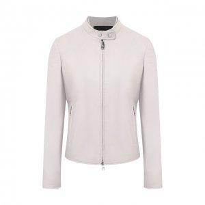 Кожаная куртка Emporio Armani. Цвет: серый