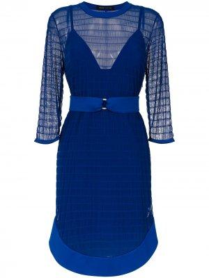 Tulle belted dress Gloria Coelho. Цвет: синий