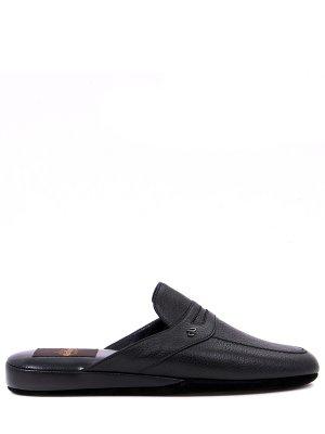 Тапочки кожаные ALDO BRUE`. Цвет: черный