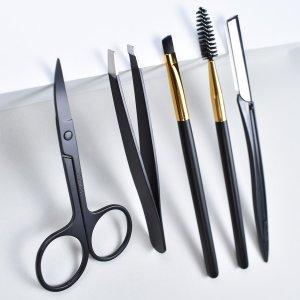 5шт инструмент для подравнивания бровей SHEIN. Цвет: чёрный