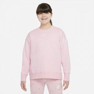 Свитшот для девочек школьного возраста Sportswear Club Fleece (расширенный размерный ряд) - Розовый Nike