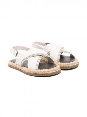 Декорированные сандалии Brunello Cucinelli Kids. Цвет: нейтральные цвета