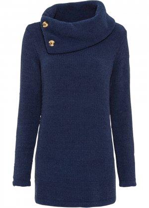 Пуловер удлиненный bonprix. Цвет: синий