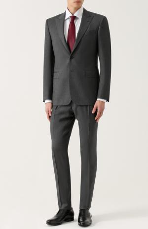 Шерстяной костюм с пиджаком на двух пуговицах Polo Ralph Lauren. Цвет: серый