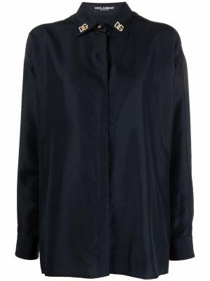 Logo-plaque silk shirt Dolce & Gabbana. Цвет: черный