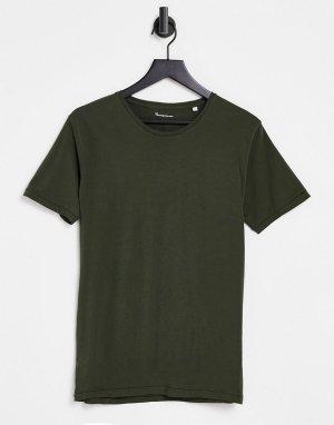 Футболка цвета хаки из органического хлопка -Зеленый цвет Knowledge Cotton Apparel