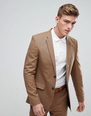 Приталенный пиджак бежевого цвета New Look. Цвет: рыжий