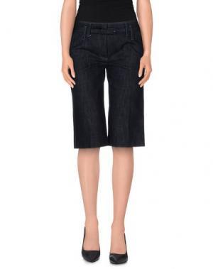 Джинсовые брюки-капри MAURIZIO PECORARO. Цвет: синий