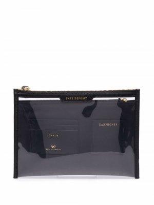 Прозрачный клатч Anya Hindmarch. Цвет: черный