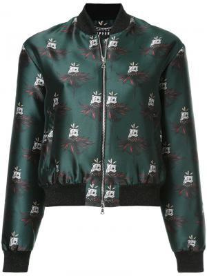 Куртка-бомбер с принтом Markus Lupfer. Цвет: зелёный