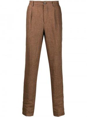 Классические брюки в полоску Brunello Cucinelli. Цвет: коричневый