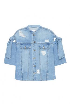 Джинсовая куртка с завязками на рукавах SJYP. Цвет: голубой