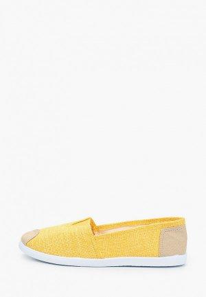 Слипоны Exquily. Цвет: желтый
