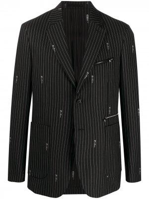Пиджак с логотипом GV Signature Versace. Цвет: черный