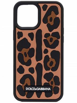 Чехол для iPhone 12 Pro Max с леопардовым принтом Dolce & Gabbana. Цвет: черный