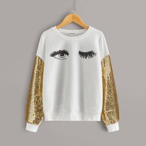 Пуловер с оригинальным принтом и блестками на рукавах SHEIN. Цвет: белые