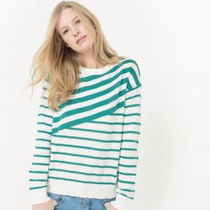 Пуловер с круглым вырезом и рисунком в асимметричную полоску La Redoute Collections. Цвет: в полоску зеленый/экрю,в полоску темно-синий/экрю