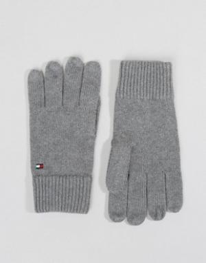 Серые перчатки из смесового кашемира Tommy Hilfiger. Цвет: серый