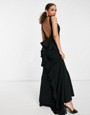 Черное платье макси с воротником-хомутом и юбкой годе -Черный Goddiva