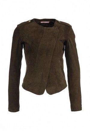 Куртка кожаная Fornarina FO019EWKZ901. Цвет: хаки