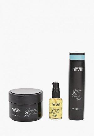 Набор для ухода за волосами Nirvel Professional CARE argan, шампунь-гель 250 мл, маска волос флюид 30 мл. Цвет: прозрачный