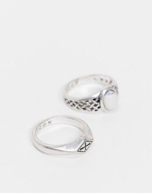 Набор серебристых колец со стразами и перекрестным дизайном -Серебристый Icon Brand