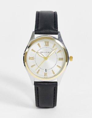 Мужские часы с черным ремешком и двухцветным циферблатом -Черный цвет Bellfield