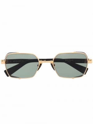 Солнцезащитные очки в овальной оправе Balmain Eyewear. Цвет: черный