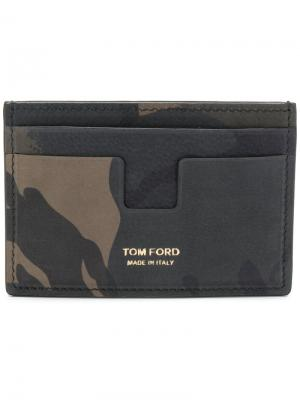 Визитница с камуфляжным принтом Tom Ford. Цвет: зеленый