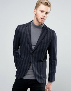 Узкий блейзер в полоску с накладными карманами Sisley. Цвет: темно-синий