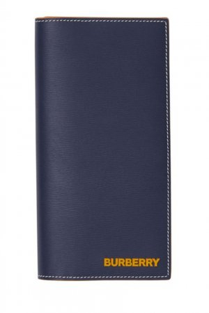 Синий бумажник из кожи с контрастной отстрочкой Burberry. Цвет: синий