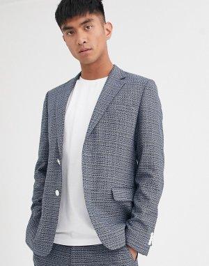 Синий фактурный пиджак -Голубой Noak