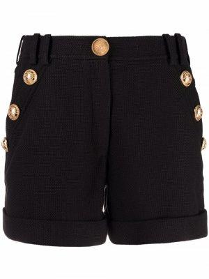 Джинсовые шорты с пуговицами Balmain. Цвет: черный