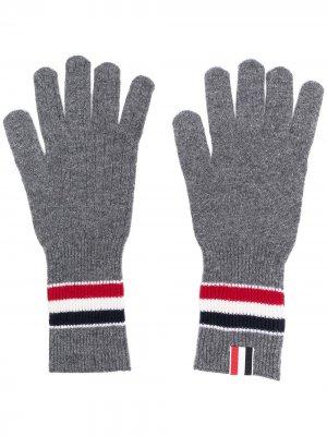 Перчатки в рубчик Thom Browne. Цвет: серый