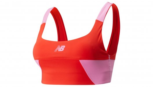 Топы, майки ACHIEVER BLOCKED CROP TOP New Balance. Цвет: красный